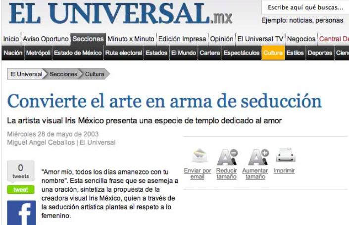 Iris México (Ra'al Ki) Convierte el arte en arma de seducción. El Universal. México. 2003
