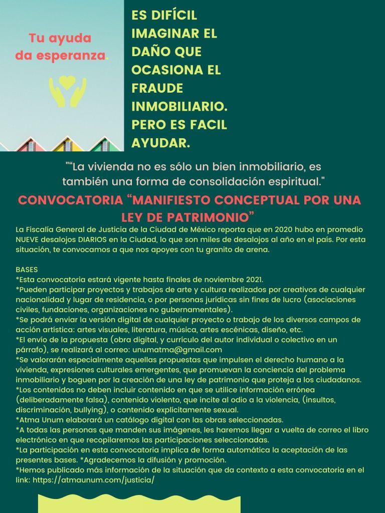 """Convocatoria de Arte """"Manifiesto Conceptual por Ley de Patrimonio"""""""